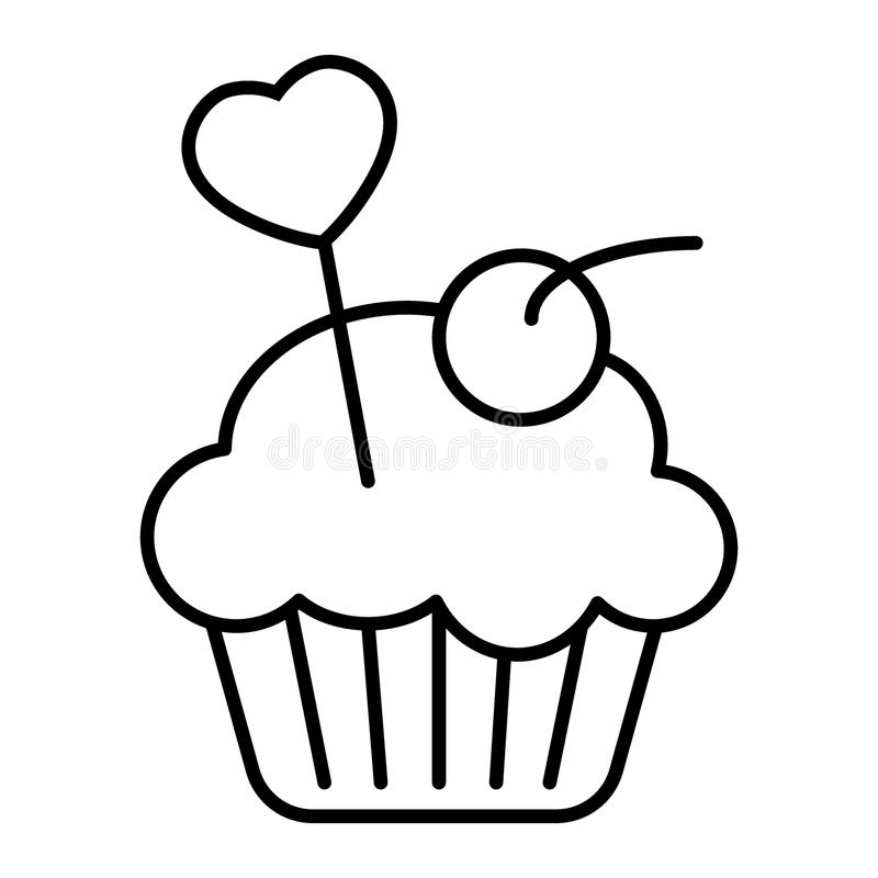 Magdalena deliciosa, línea fina icono del mollete Ejemplo cremoso del vector de la torta aislado en blanco Diseño del estilo del  libre illustration
