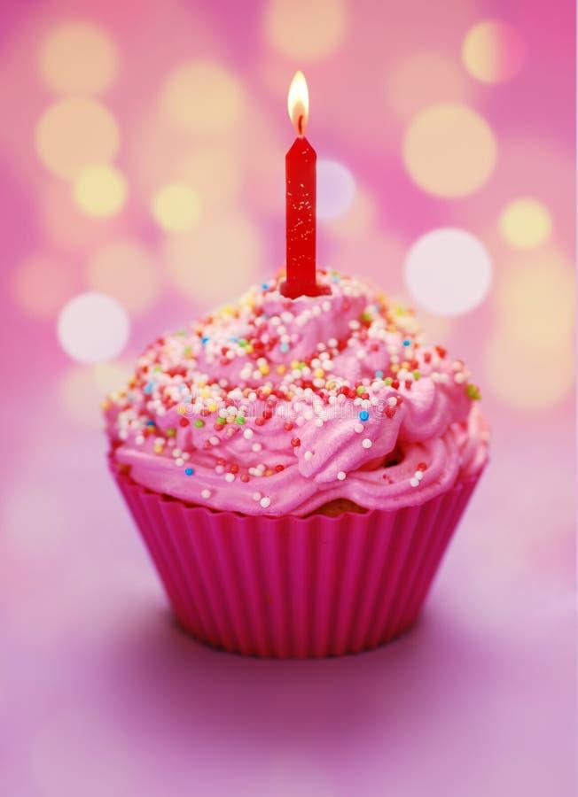 Magdalena rosada del cumpleaños imagen de archivo