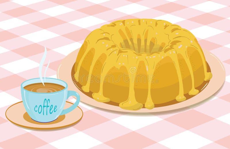 Magdalena y una taza de café ilustración del vector