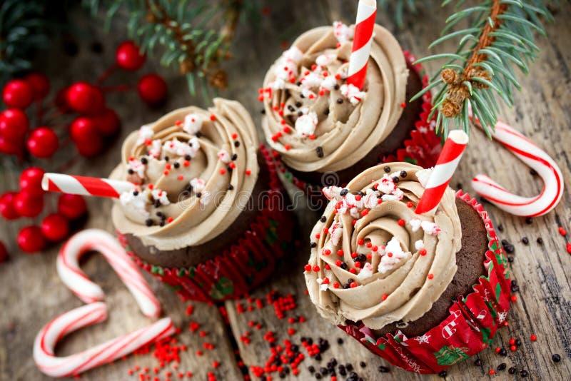 Magdalenas de la Navidad y del Año Nuevo - tortas de chocolate con la crema, SP imagen de archivo libre de regalías