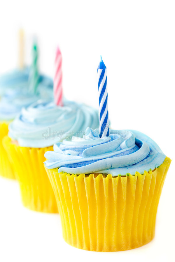 Magdalenas del cumpleaños imagen de archivo libre de regalías