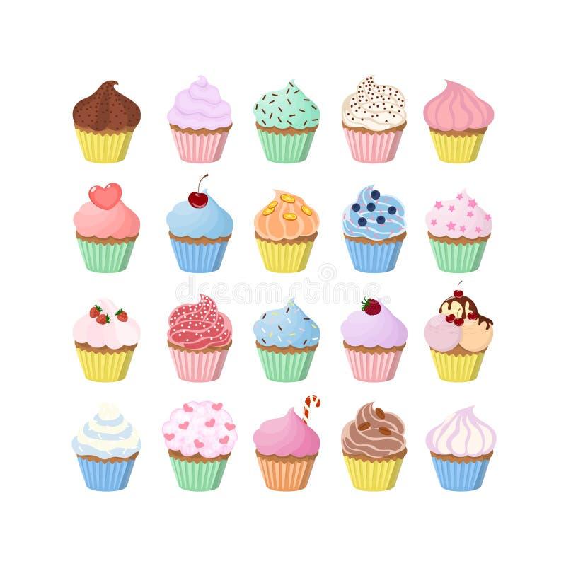 Magdalenas dulces fijadas ilustración del vector