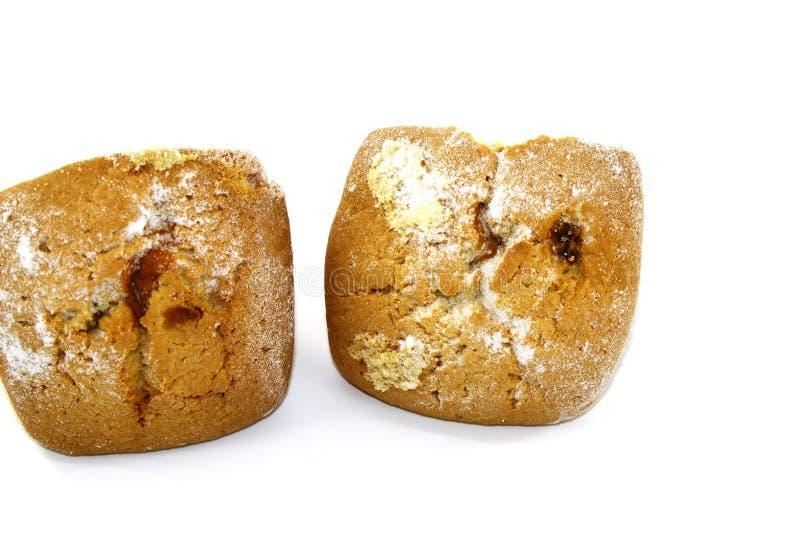 Magdalenas frescas con las pasas y el azúcar en polvo fotos de archivo libres de regalías