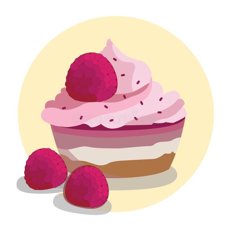 Magdalenas frescas de la frambuesa con la frambuesa Buttercream stock de ilustración