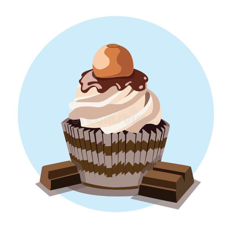 Magdalenas h?medas estupendas del chocolate con la barra de chocolate libre illustration
