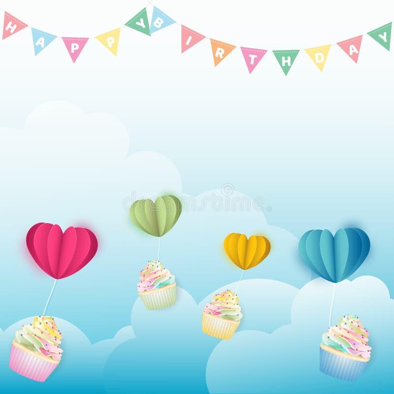 Magdalenas que vuelan con los globos de papel de los corazones en la nube imagen de archivo