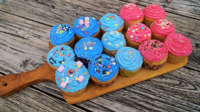 Magdalenas rosadas y azules foto de archivo libre de regalías