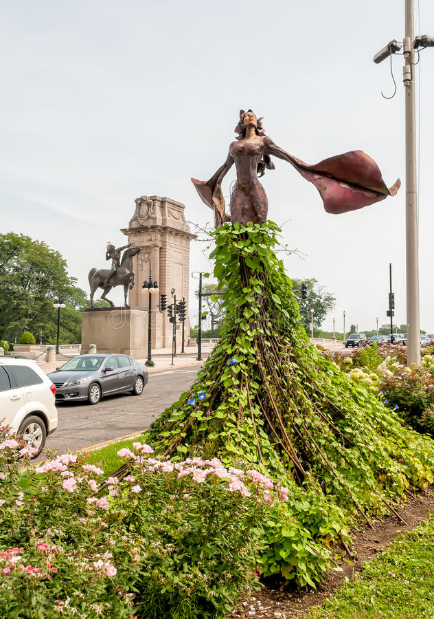 Magdalene Sculpture in Grant Park of Chicago. Magdalene Sculpture, is located on the small triangular landscape at the intersection of Congress Parkway and royalty free stock photos