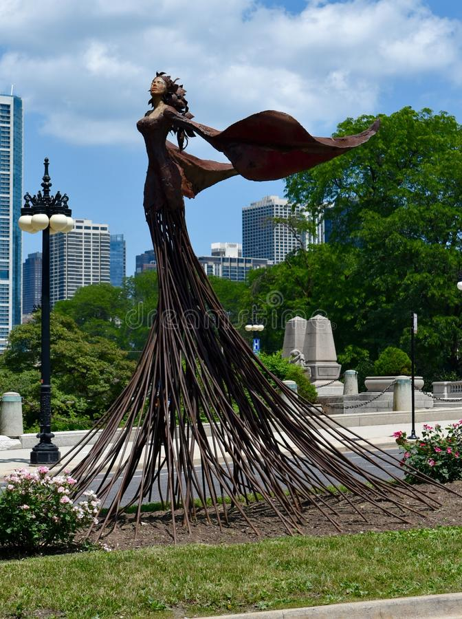 Magdalene. This is a Summer picture of the public art titled Magdalene located in Grant Park in Chicago, Illinois. The artwork was done by Desa Kirk, in the royalty free stock photography