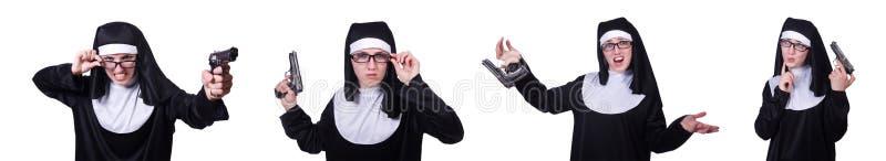 Magdalenka z pistolecikiem odizolowywającym na bielu zdjęcie royalty free