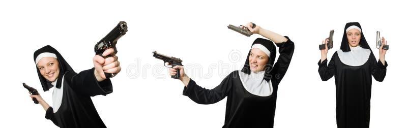 Magdalenka z pistolecikiem odizolowywającym na bielu zdjęcia royalty free