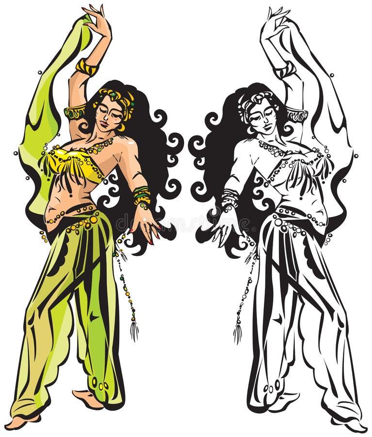 magdansen skyler stock illustrationer