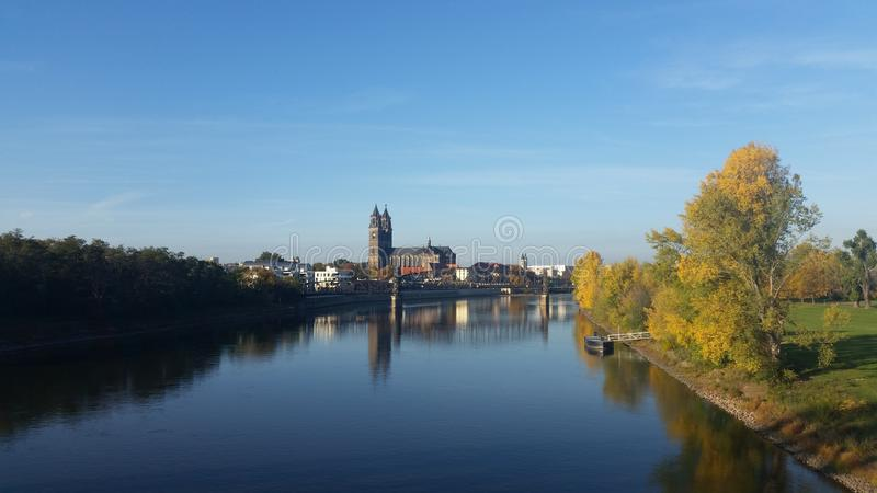 Magdeburg at autumn stock images
