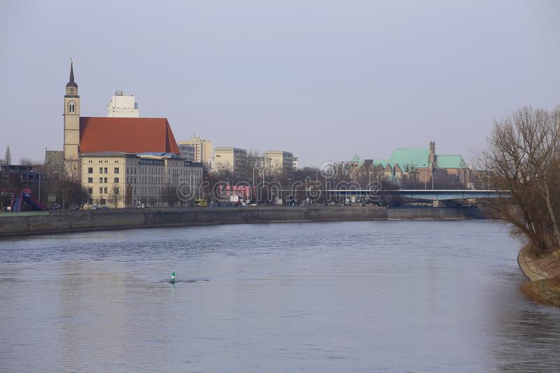 MAGDEBURG, GERMANY - FEB 19 2018 : View on the river elbe from old lifting bridge in Magdeburg.  stock photography