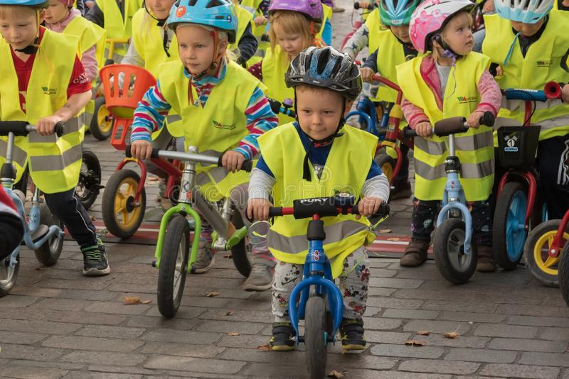 Magdeburg, Germany - 15 September 2019: Children bicycle racing. Cycle sport holiday for families royalty free stock photos