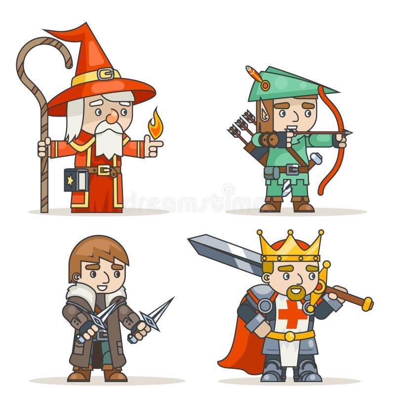 Mage warlock łuczniczki sharpshooter wojownika królewiątka złodzieja fantazi średniowiecznej akci RPG gemowy charakter odizolowyw ilustracja wektor