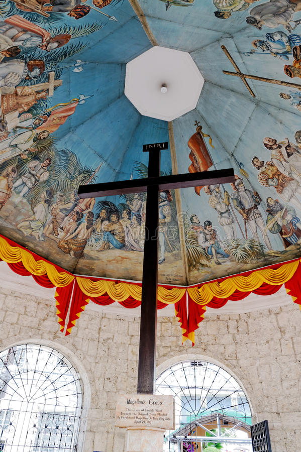 Magellan`s Cross, Cebu City, Philippines. Magellans Cross is a Christian cross planted by Portuguese and Spanish explorers as ordered by Ferdinand Magellan upon stock images