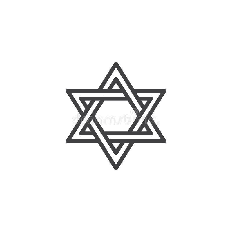 Magen david star outline icon. vector illustration