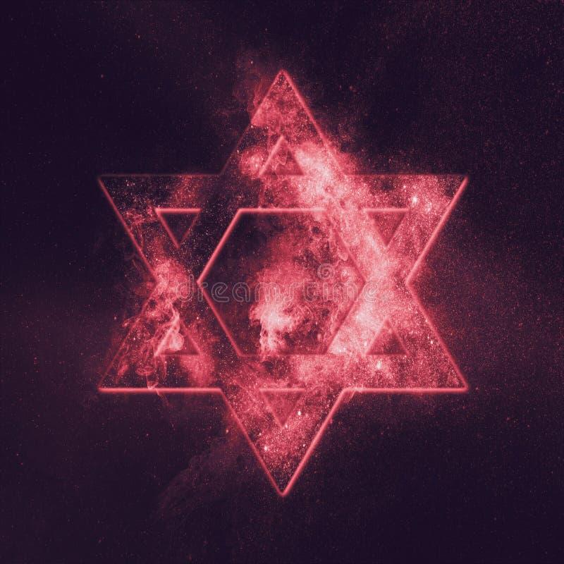 Magen David symbol, Star of David. Abstract night sky background royalty free illustration