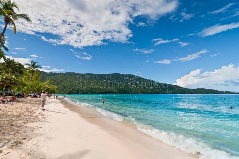 Magens海湾-在圣托马斯的举世闻名的海滩在美国Virgi 免版税库存照片