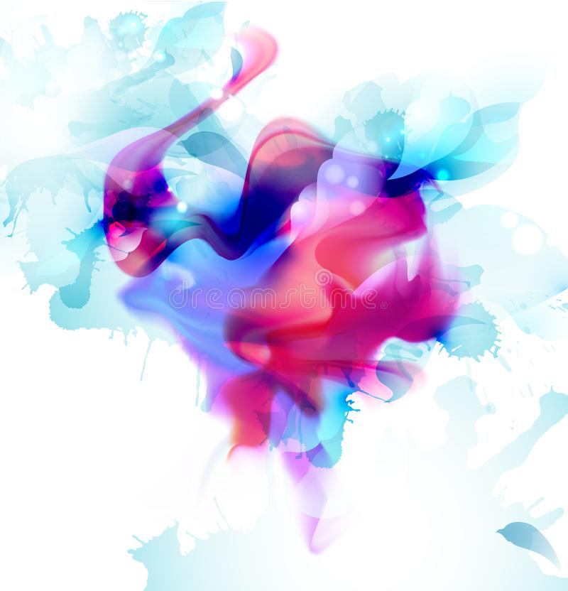 Magenta and blue colorful blot spread to the light background. Abstract vector composition for the bright design. royalty free illustration