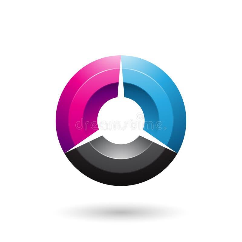 Magenta and Blue Glossy Shaded Circle Vector Illustration stock illustration