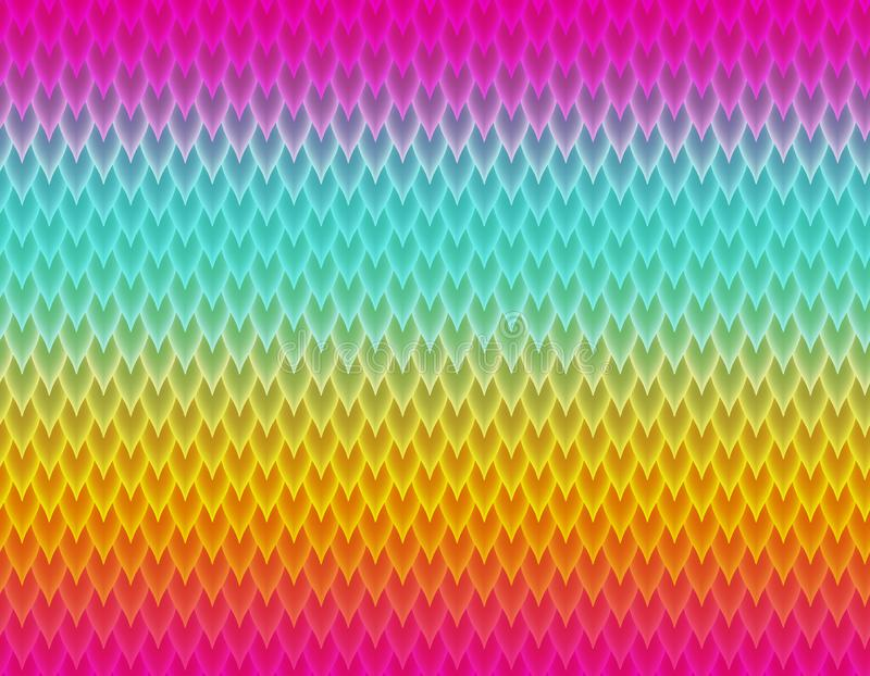 Magenta, blue and yellow gradient snake skin pattern, long sharp scale vector illustration