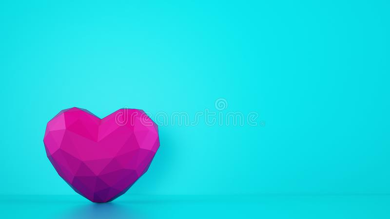 Magenta color faceted heart on cyan background. Medical and love concept. 3D Rendering stock image