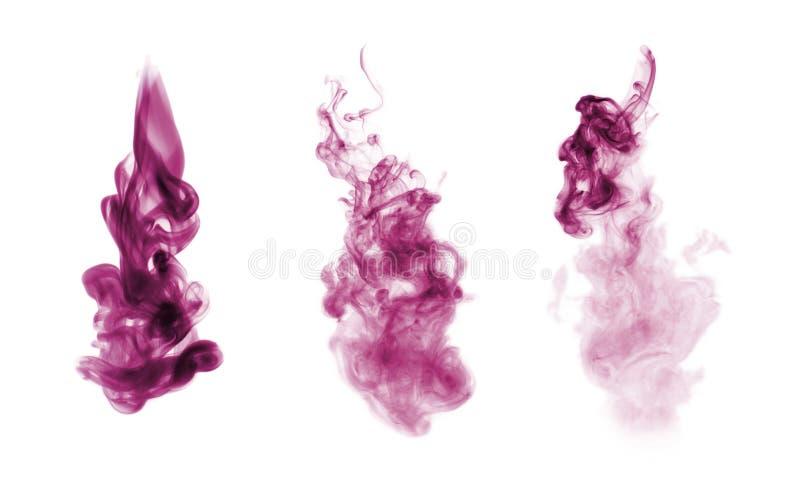 Magenta dymu kleks odizolowywający na bielu obraz stock