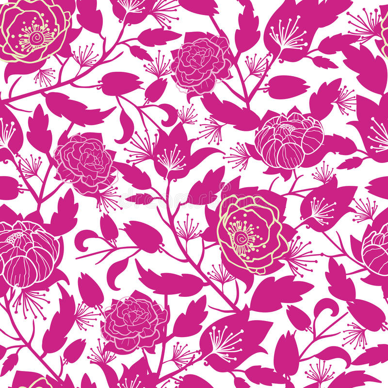 Magenta floral silhouettes seamless pattern vector illustration