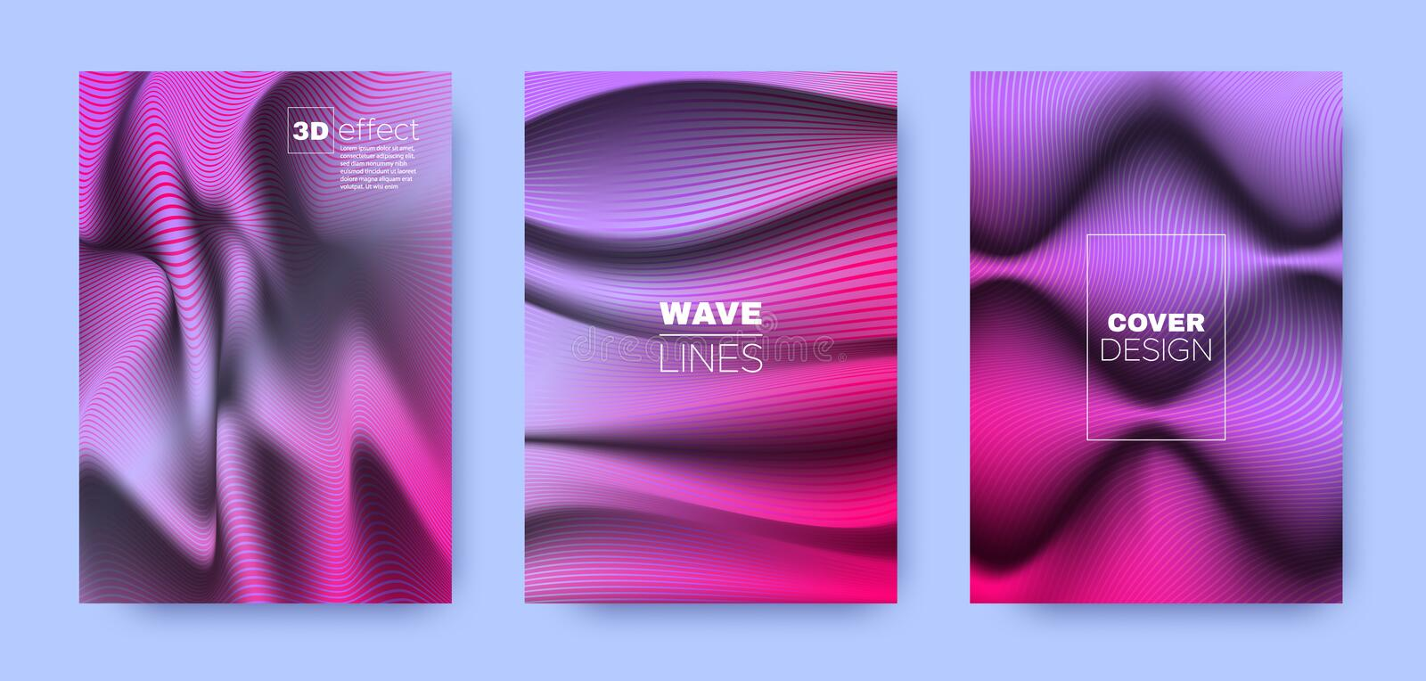 Magenta Flow Cover. Neon Headline Template. Dynamic Distorted Texture. 3d Movement Brochure. Multicolor Vibrant Stripes. Flow Brochure. Design Cover. 3d vector illustration