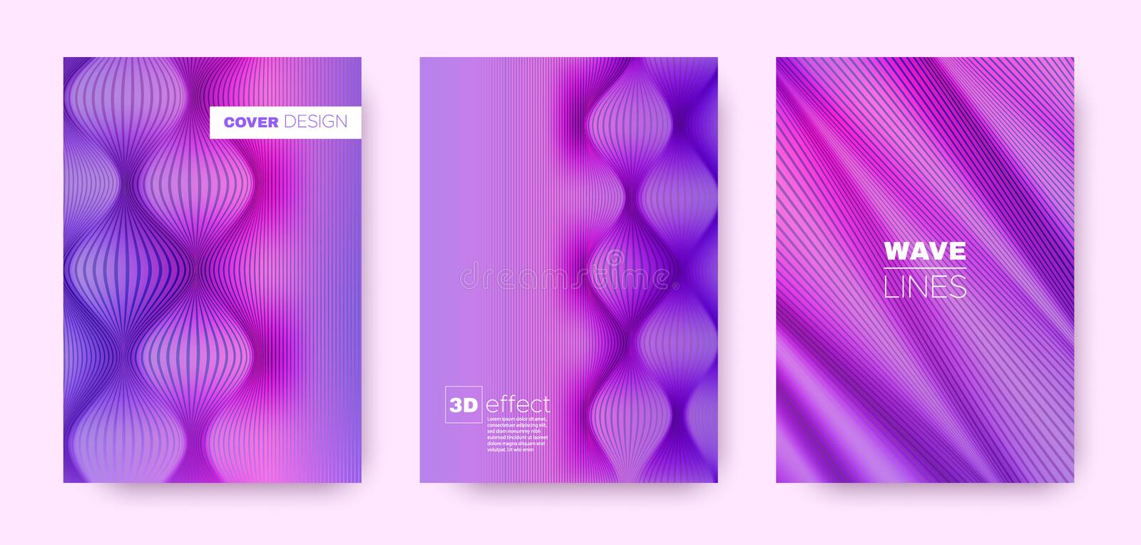 Magenta Flow Cover. Pink Design Template. Business Distorted Texture. 3d Geometric Background. Blue Striped Pattern. Flow Background. Minimal Cover. 3d stock illustration