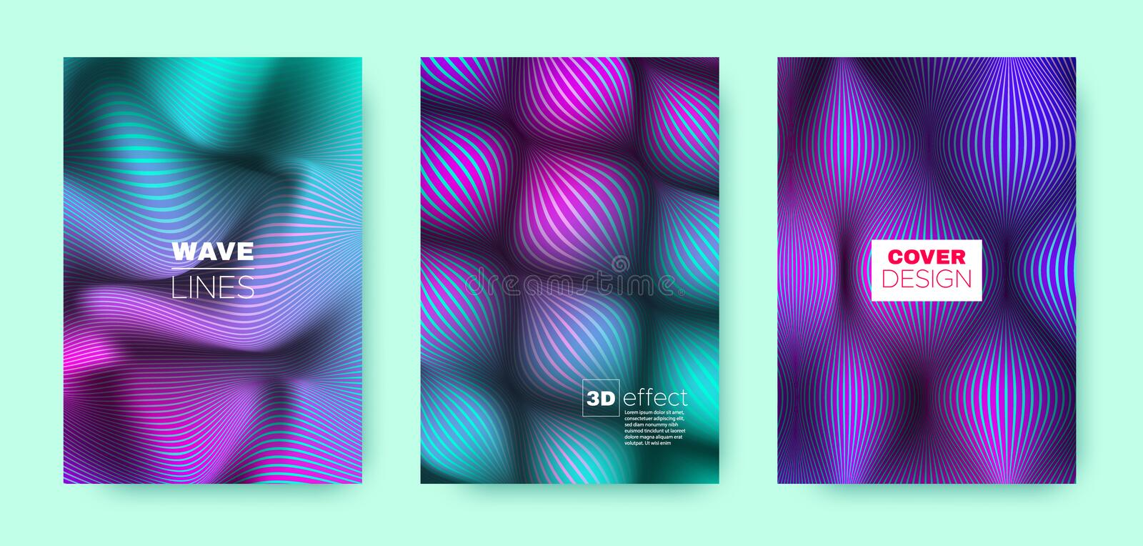 Magenta Flow Template. Vector Cover. Dynamic. Brochure. 3d Movement Halftone Texture. Flow Template. Cyan Design Cover. Business Background. Fluid Template stock illustration