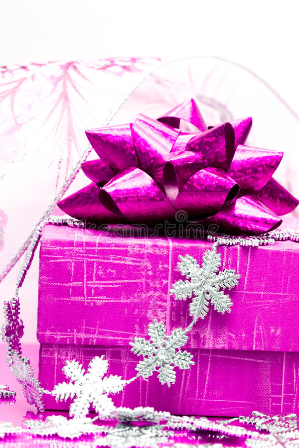 Magenta gift box royalty free stock images