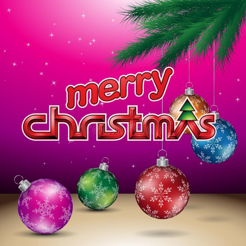 Magenta Glanzende Vrolijke Kerstmis Vectorillustratie Als achtergrond stock illustratie