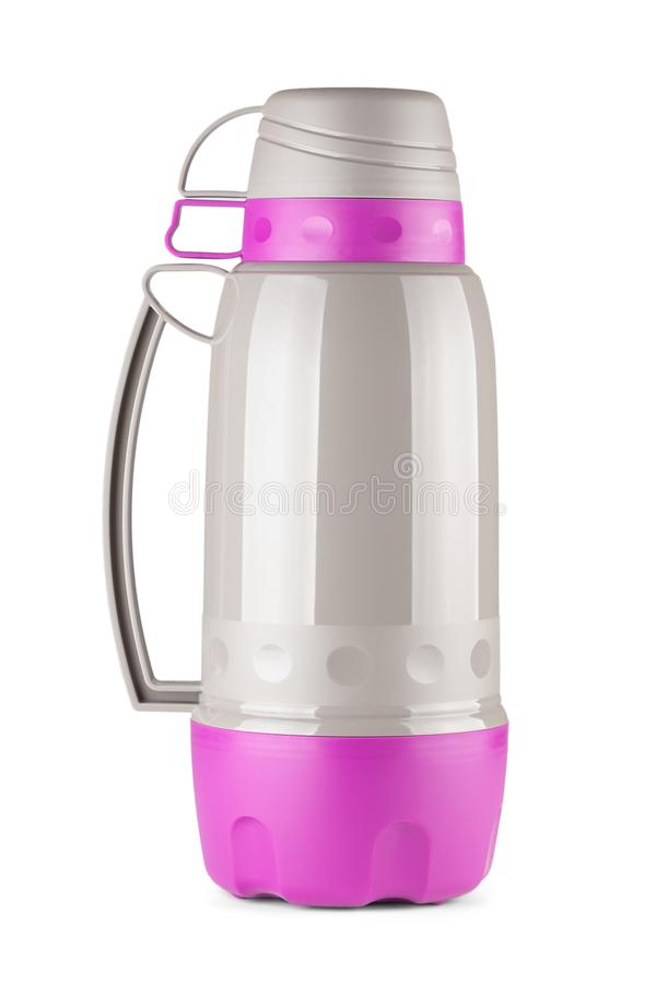 Magenta and Grey Plastic Thermos Flask with Cups On Top stock images