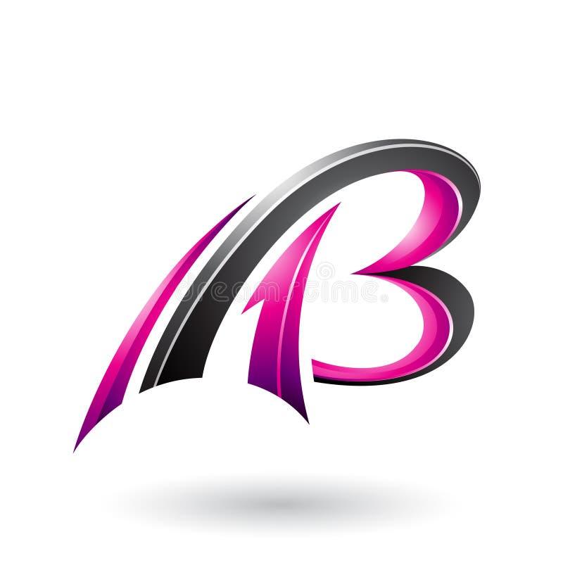 Magenta i Czarny Latający Dynamiczny 3d Pisze list A i b odizolowywających na Białym tle ilustracja wektor
