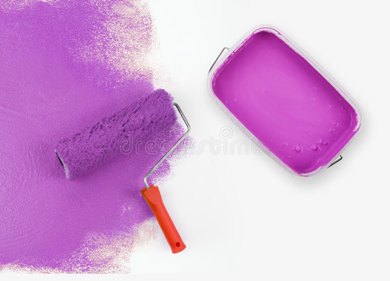 Magenta paint. Opened magenta paint bucket with paint roller royalty free stock photography