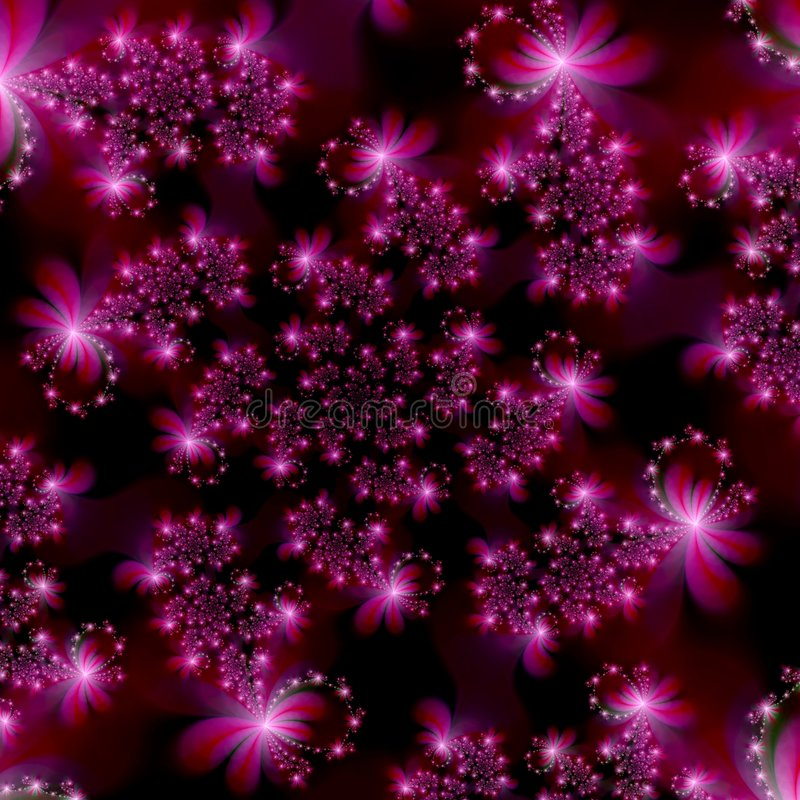 Magenta Pink Fractal Stars in Space Abstract Background. Abstract Background Design Template of star shapes on a black background