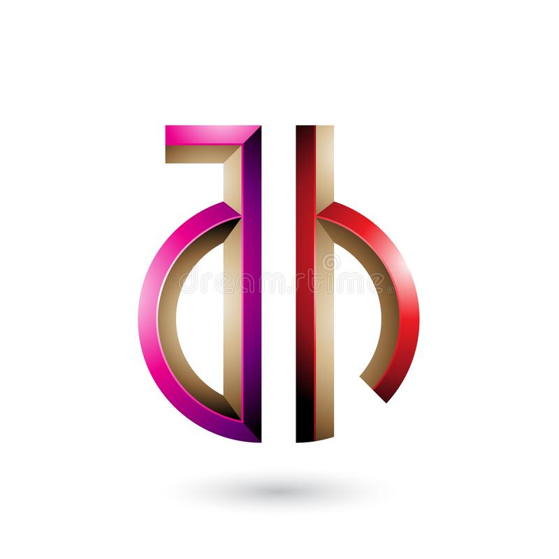 Magenta and Red Key-like Symbol of Letters A and H isolated on a White Background. Vector Illustration of Magenta and Red Key-like Symbol of Letters A and H royalty free illustration