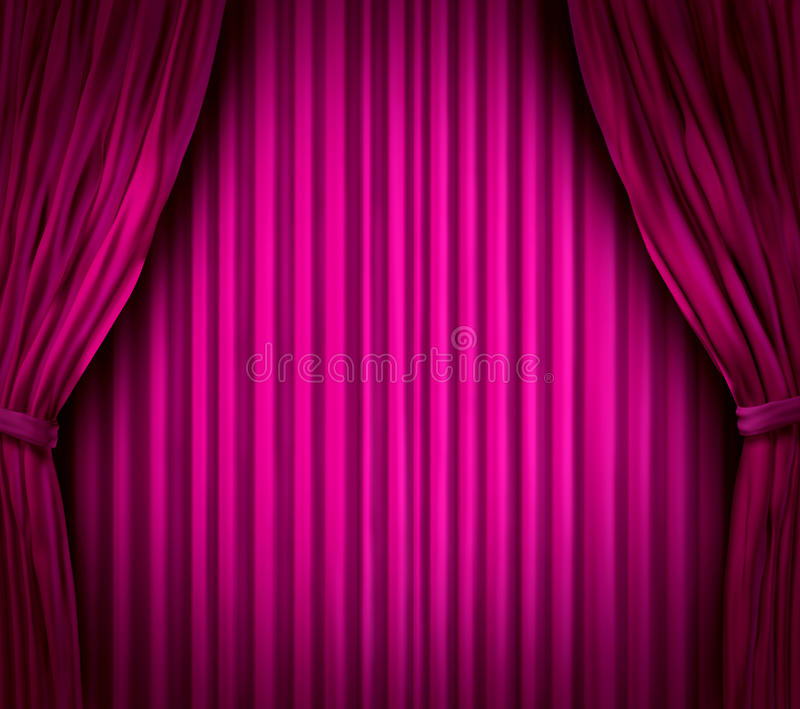 Magenta Theater Stage Curtains Stock Illustration