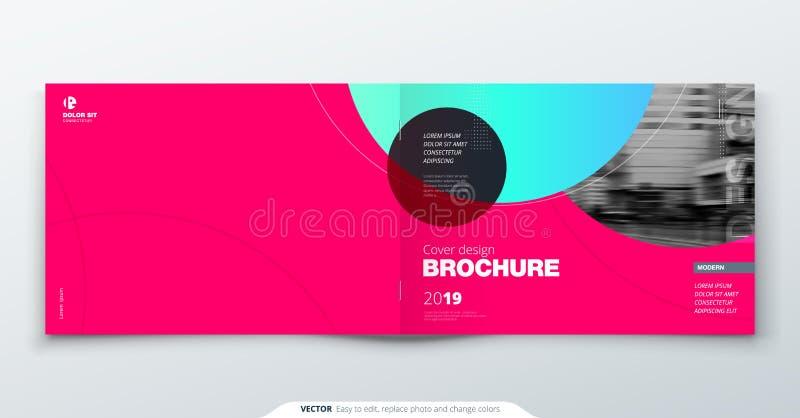 Magentafärgad broschyrdesign Horisontalräkningsmall för broschyren, rapport, katalog, tidskrift Orientering med lutningcirkeln vektor illustrationer