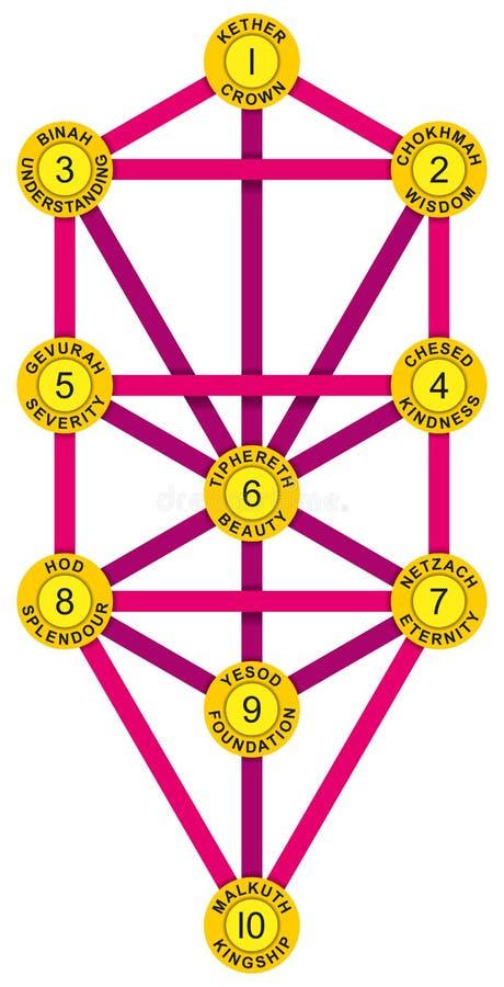 Magentafärgade Sephirot och träd av livguling royaltyfri illustrationer