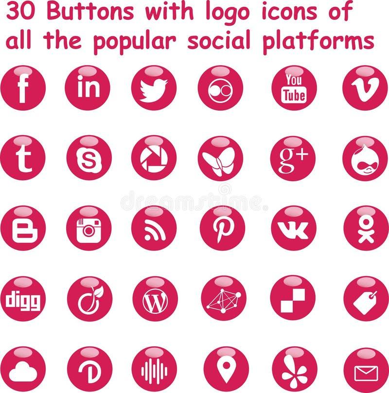 Magentafärgade skinande knappar för socialt massmedia stock illustrationer