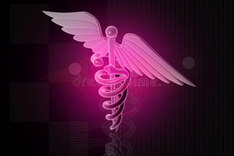 magentafärgat medicinskt tecken för caduceus vektor illustrationer