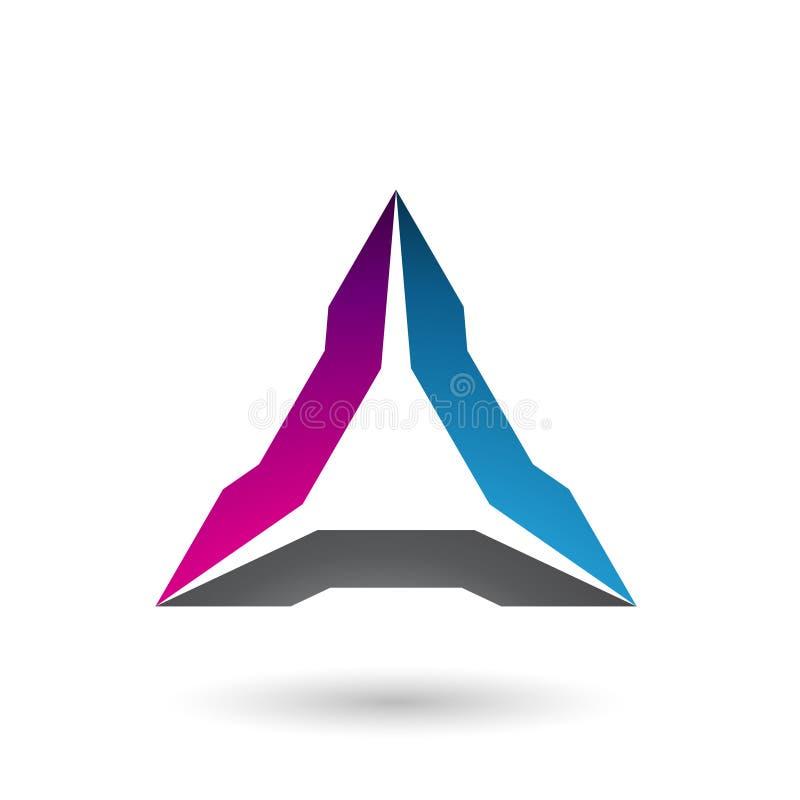 Magentarote blaue und schwarze ährentragende Dreieck-Vektor-Illustration lizenzfreie abbildung
