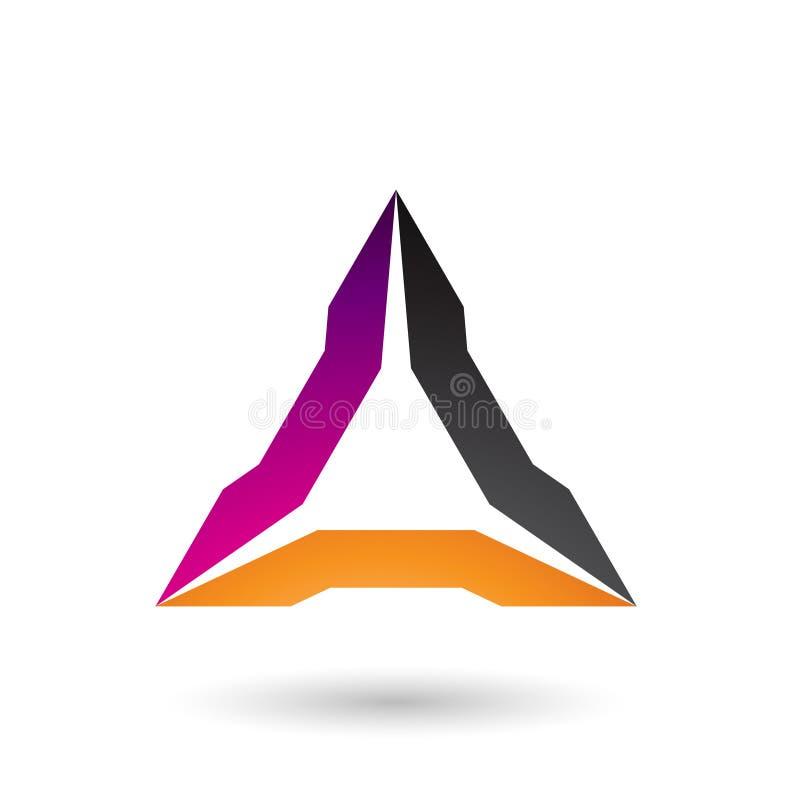 Magentarote Orange und schwarze ährentragende Dreieck-Vektor-Illustration stock abbildung