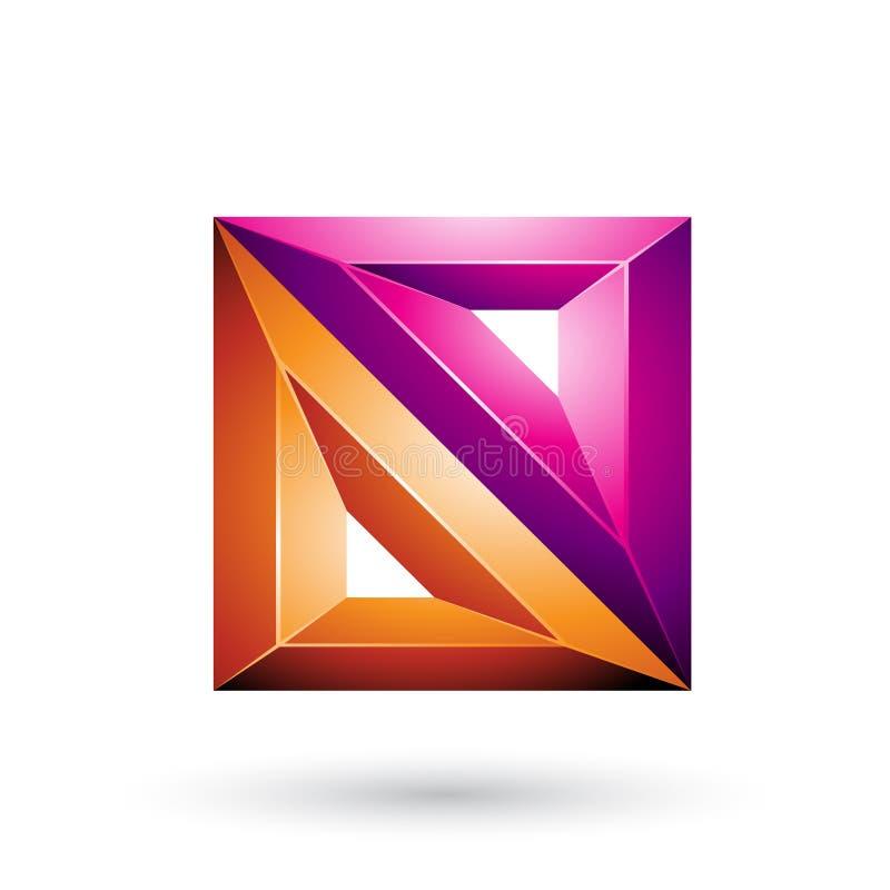 Magentarote und orange geometrische prägeartige Dreiecke 3d und quadratische Form lokalisiert auf einem weißen Hintergrund vektor abbildung