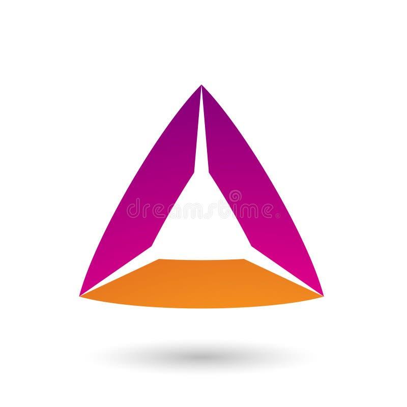 Magentarotes und orange Dreieck mit gebeugter Rand-Vektor-Illustration lizenzfreie abbildung