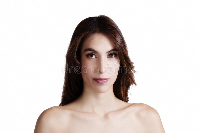 Mager attraktiv Latina för kal skuldrastående kvinna royaltyfri fotografi